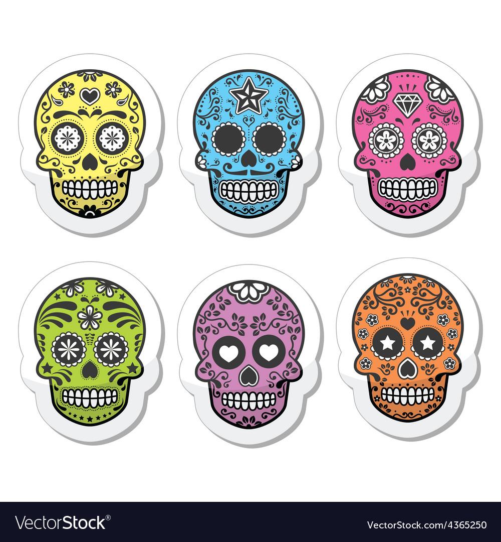 Mexican sugar skull dia de los muertos icons set vector | Price: 1 Credit (USD $1)