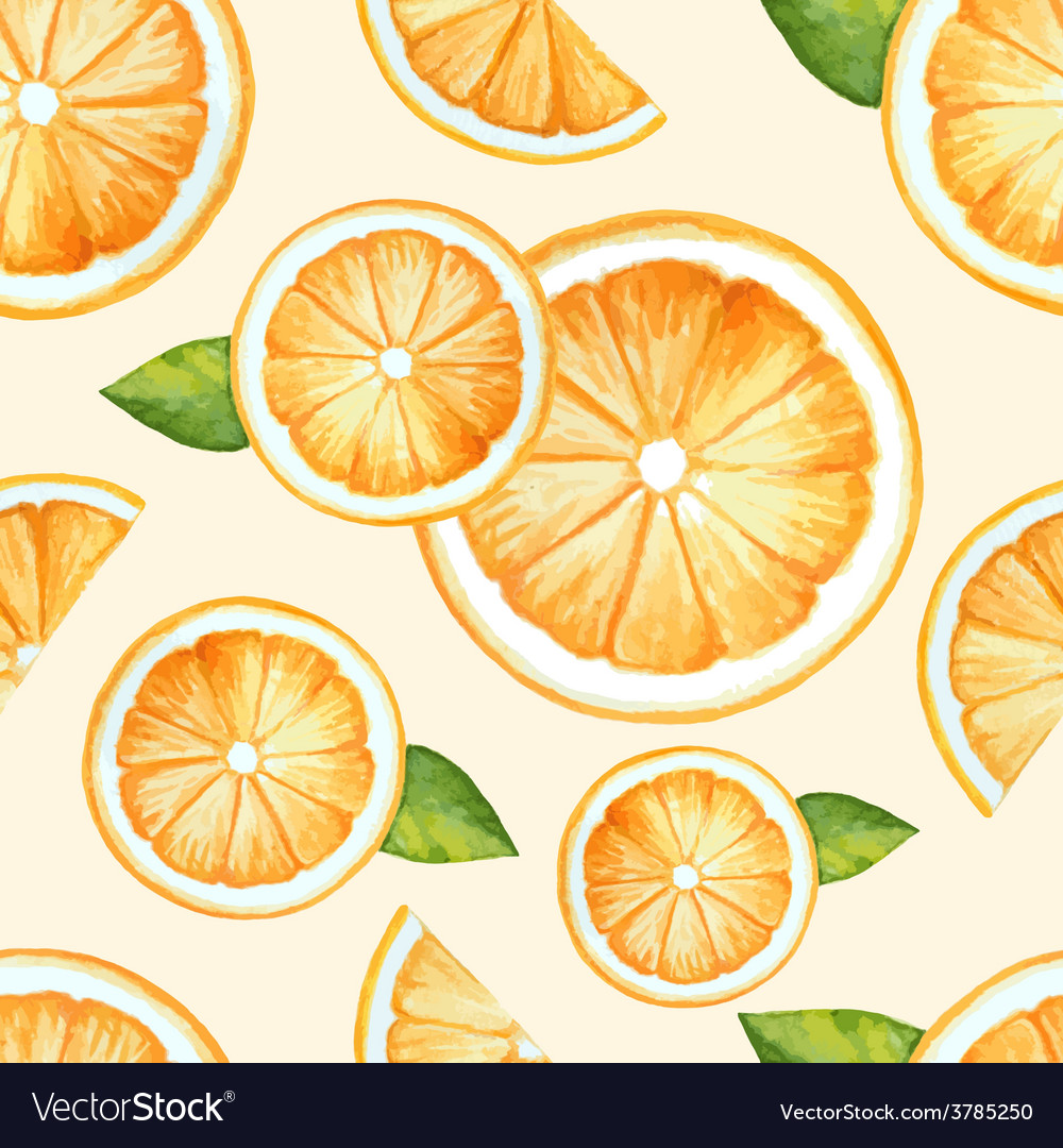 Orange seamless pattern watercolor fruit vector | Price: 1 Credit (USD $1)