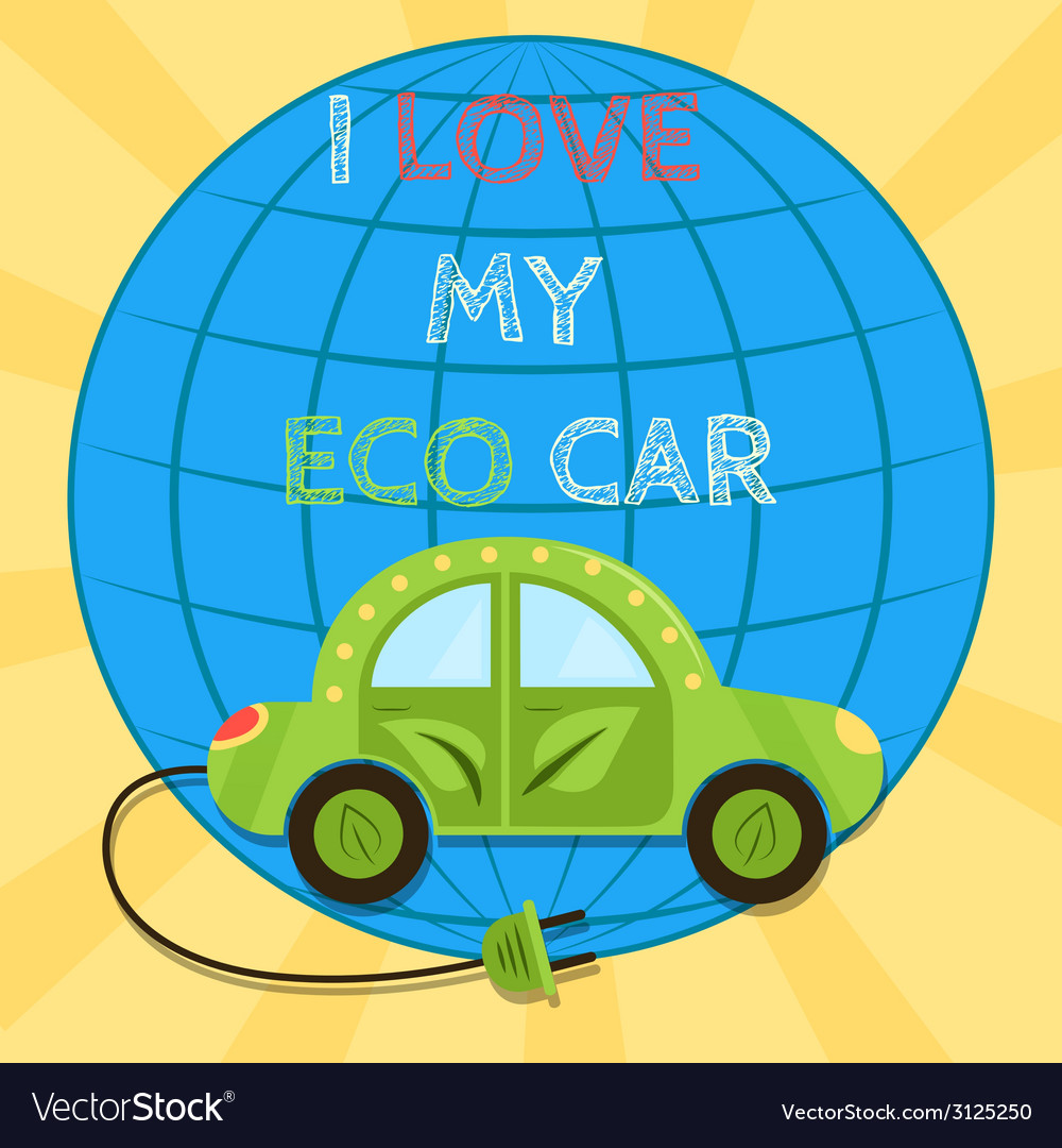 Poster of a green electric car with plug i love my vector | Price: 1 Credit (USD $1)