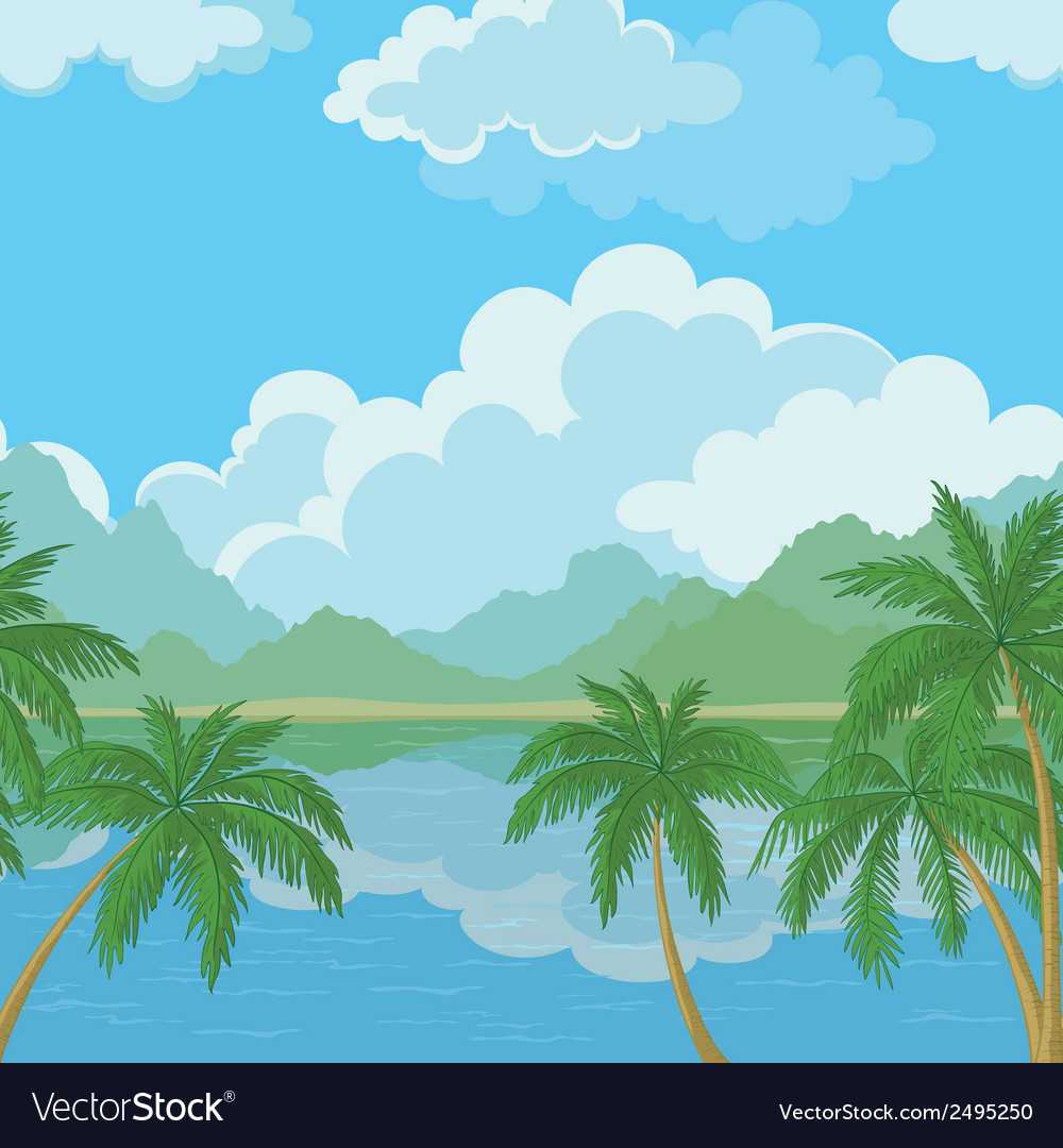 Seamless landscape sea and palm trees vector | Price: 1 Credit (USD $1)