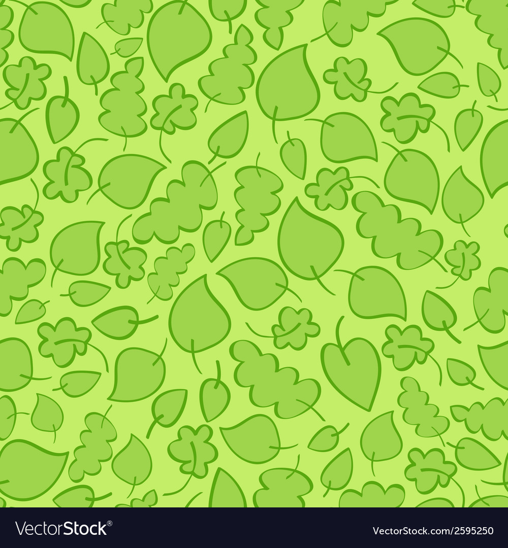 Seamless pattern with bright green spring leaves vector | Price: 1 Credit (USD $1)