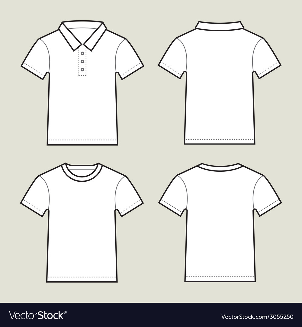 Set of white t shirt templates- front and back vector | Price: 1 Credit (USD $1)