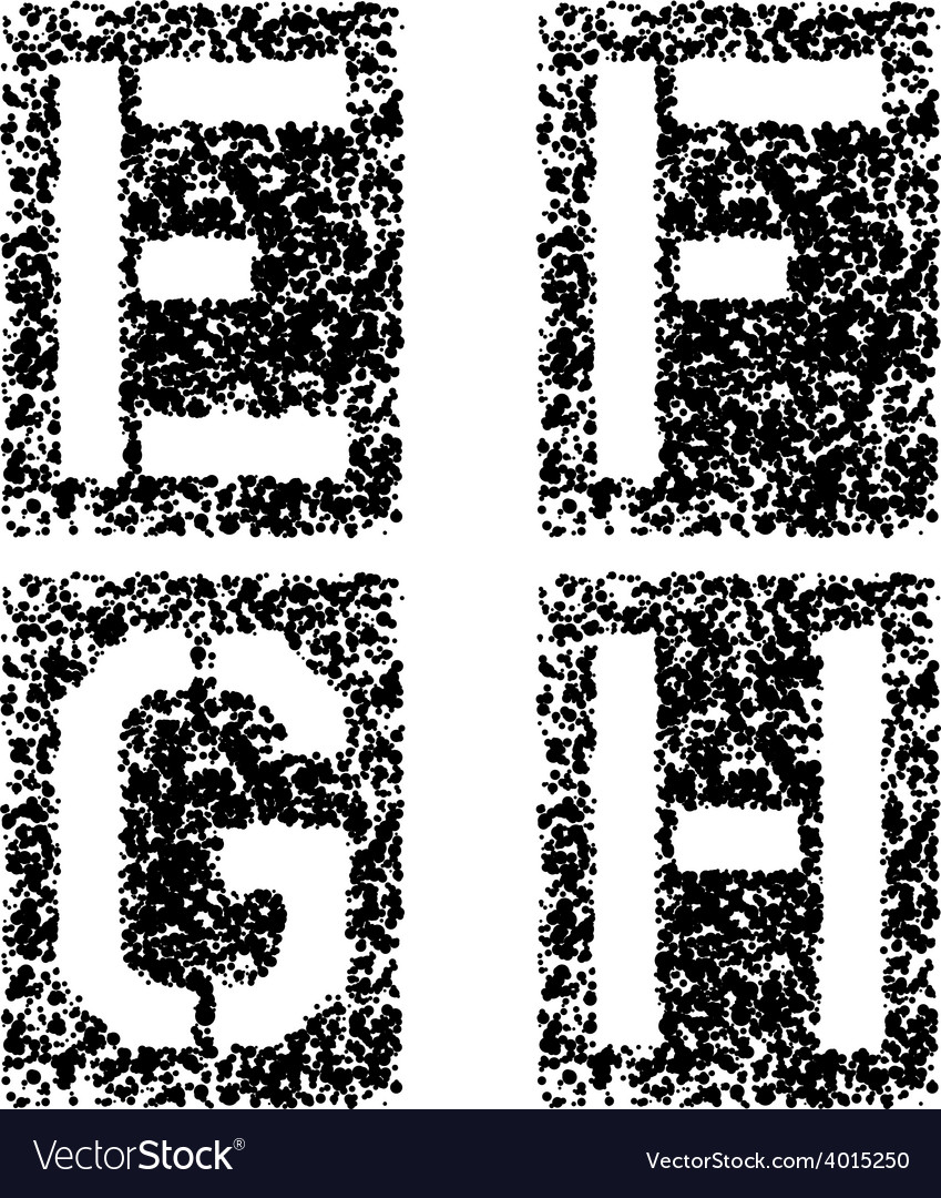 Stencil angular spray font letters e f g h vector | Price: 1 Credit (USD $1)