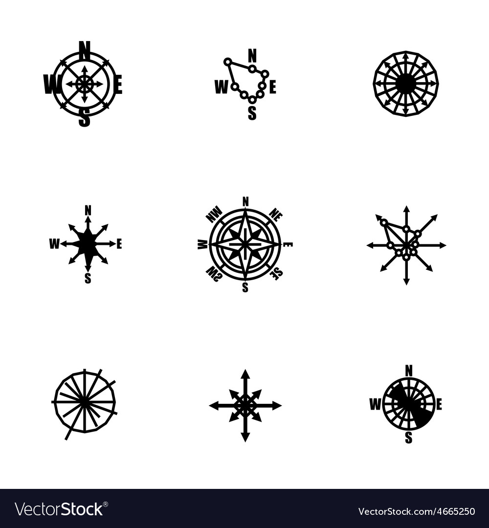 Wind rose icon set vector | Price: 1 Credit (USD $1)