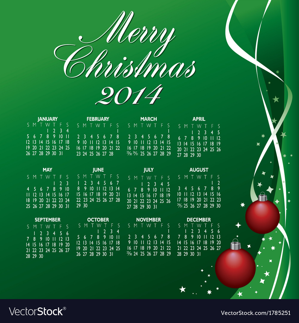 2014 merry christmas calendar vector | Price: 1 Credit (USD $1)
