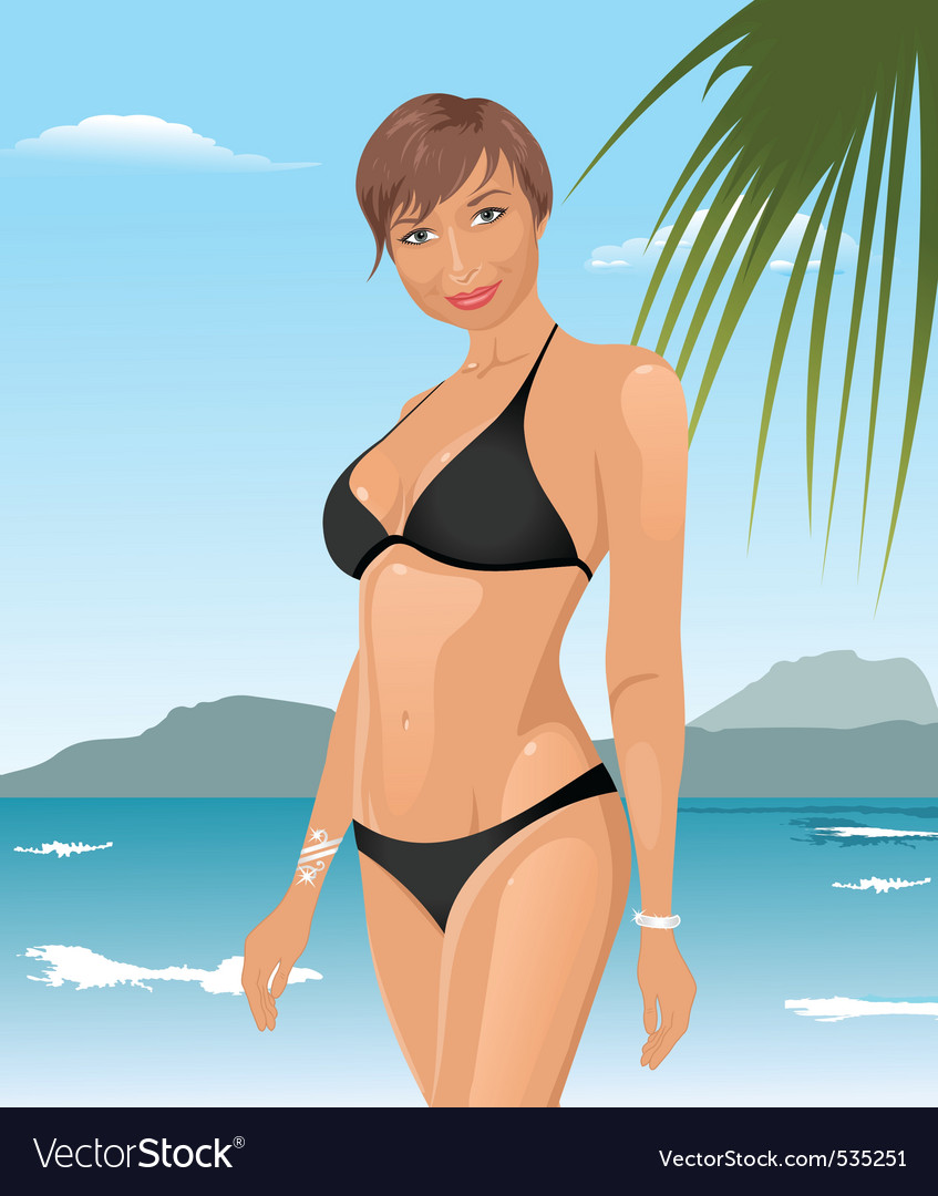 Beach girl summer background vector | Price: 3 Credit (USD $3)
