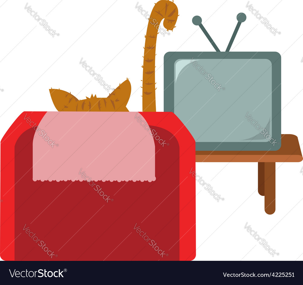 Funny cat watching tv vector | Price: 1 Credit (USD $1)