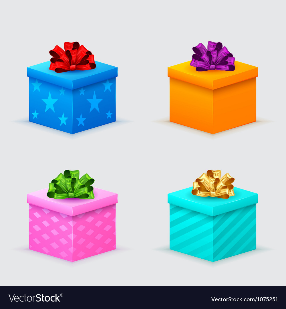 Gift boxes for a birthday or new year with bows vector | Price: 1 Credit (USD $1)