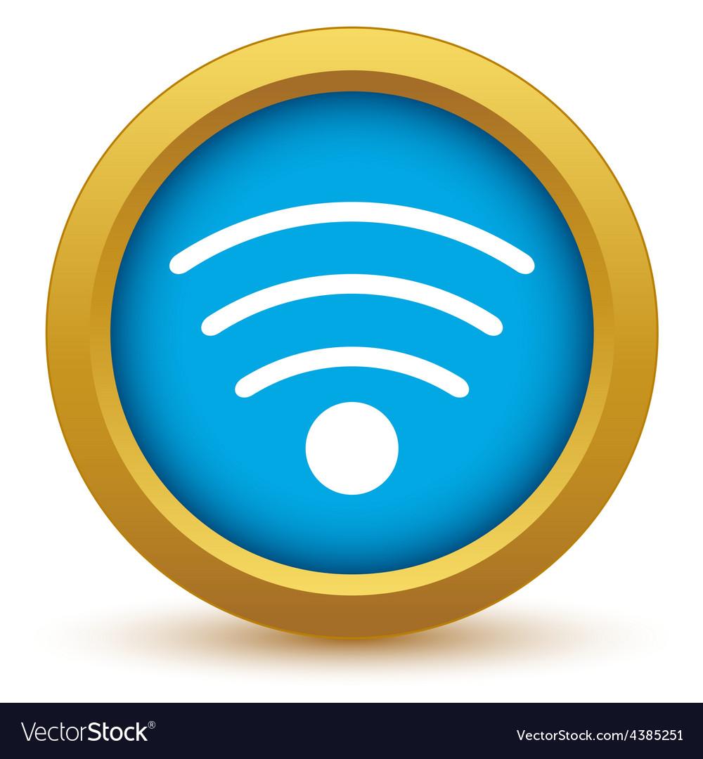 Gold wi-fi icon vector | Price: 1 Credit (USD $1)
