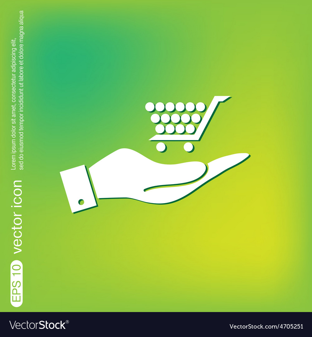 Hand holding a shopping cart online store vector | Price: 1 Credit (USD $1)