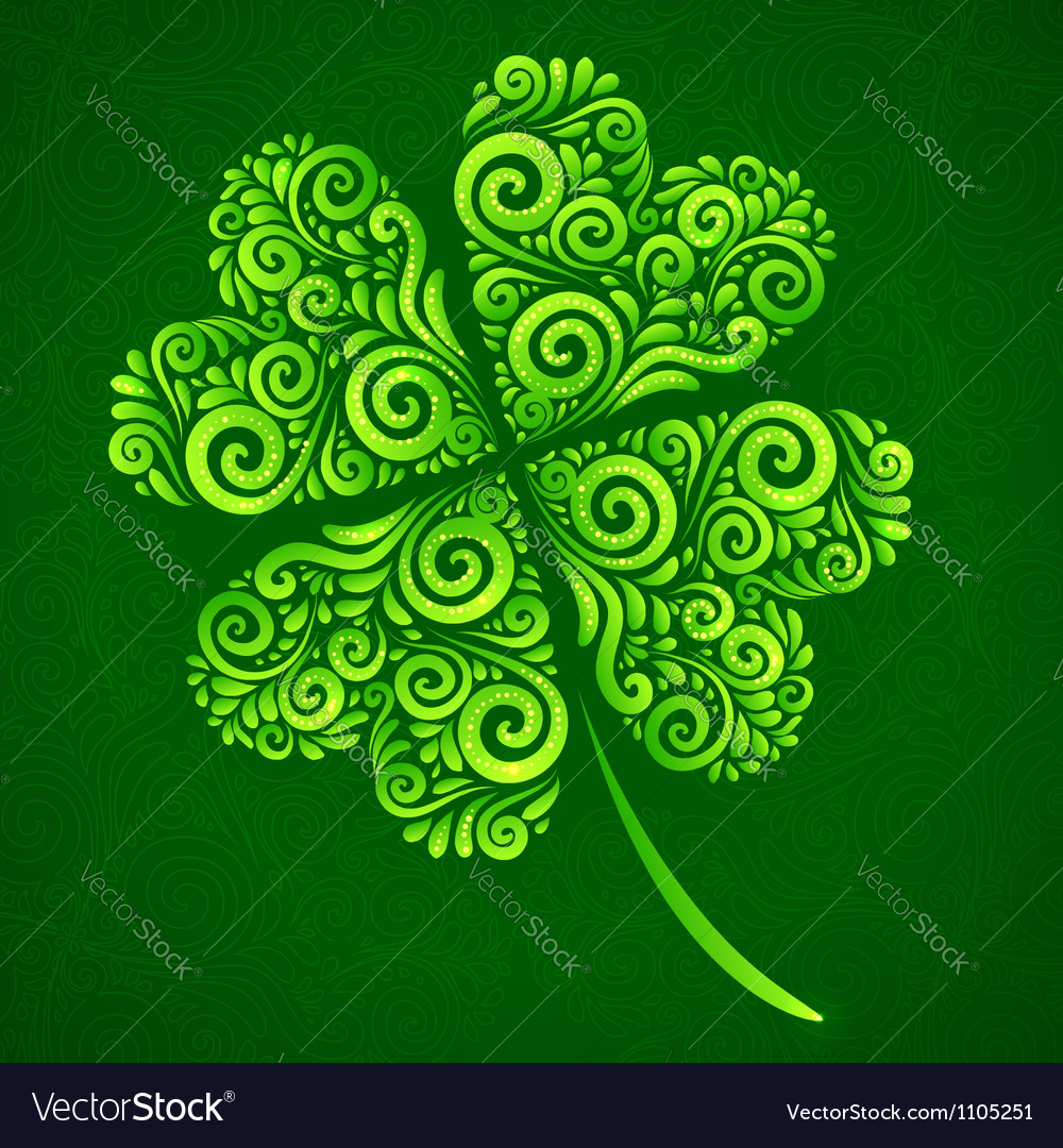 Ornate clover on dark green background vector | Price: 1 Credit (USD $1)