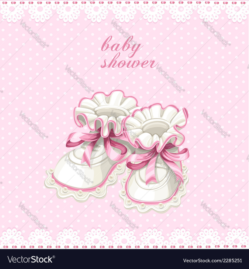 Pink booties baby shower card vector | Price: 1 Credit (USD $1)