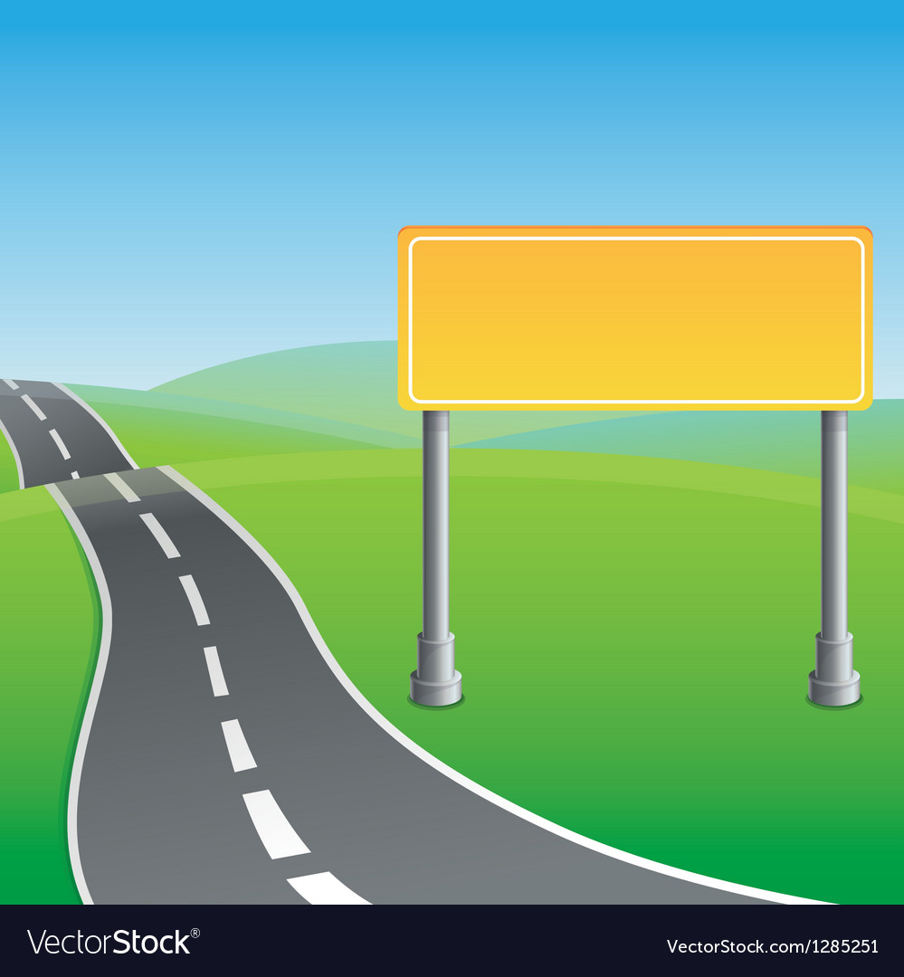 Road sign and green landscape vector | Price: 1 Credit (USD $1)