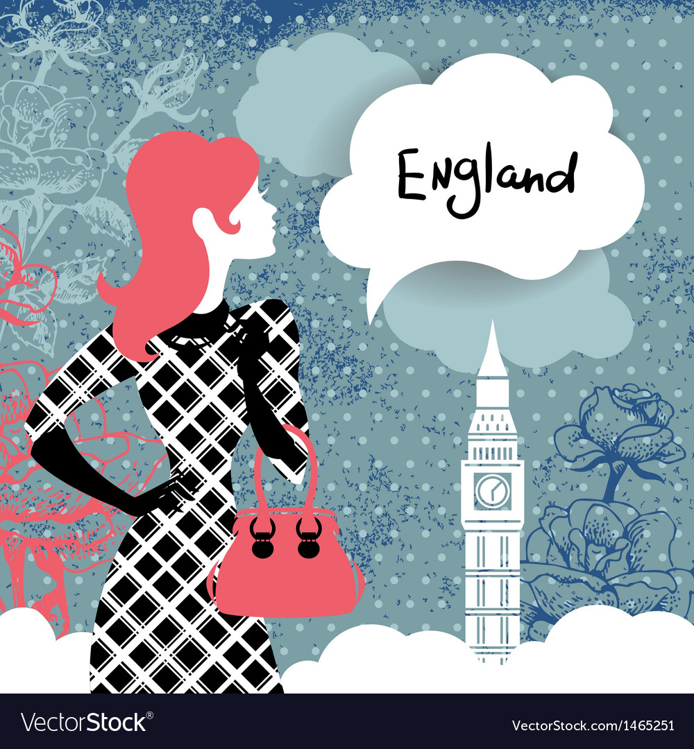 Stylish back with woman silhouette in england vector | Price: 1 Credit (USD $1)