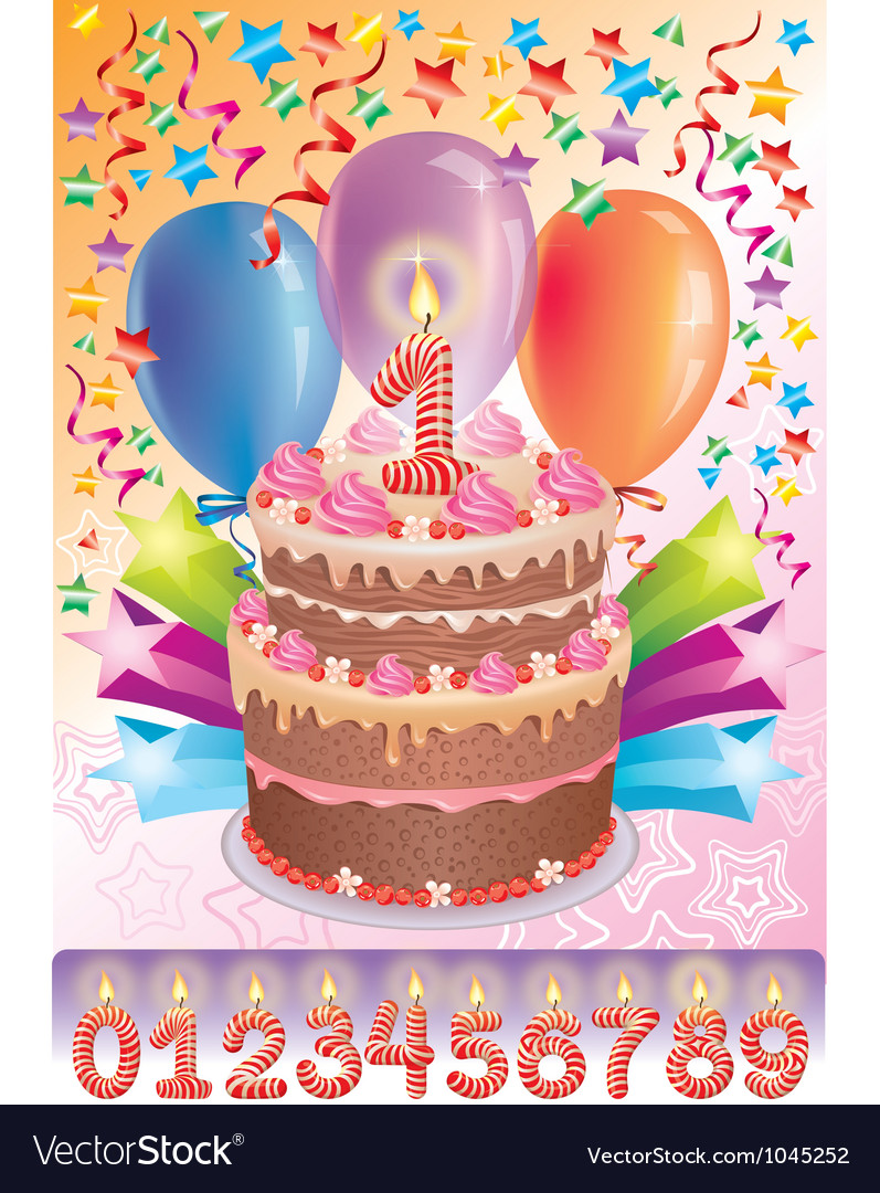 Birthday cake with the number age vector | Price: 1 Credit (USD $1)