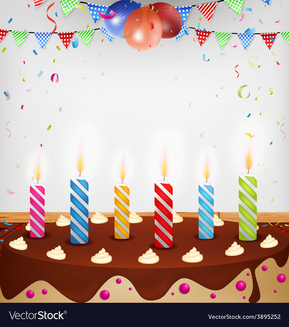 Birthday celebration with cake and decoration vector | Price: 3 Credit (USD $3)