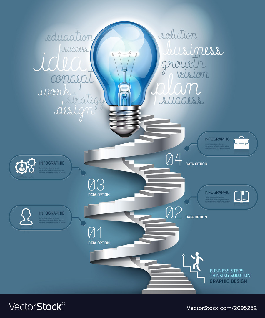 Business staircase lightbulb thinking idea vector | Price: 1 Credit (USD $1)