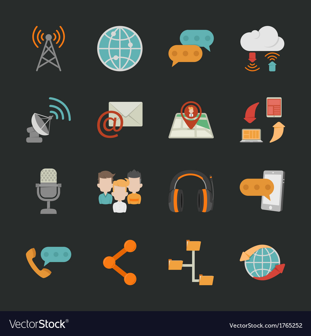 Communication icons with black background  eps10 vector | Price: 1 Credit (USD $1)