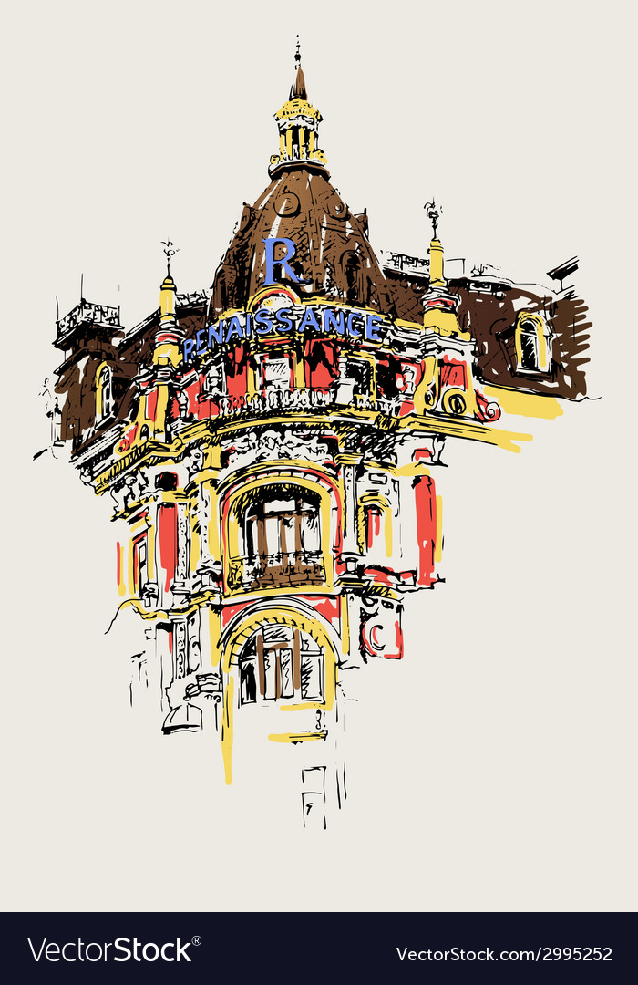 Digital drawing of old historic house in kiev vector | Price: 1 Credit (USD $1)