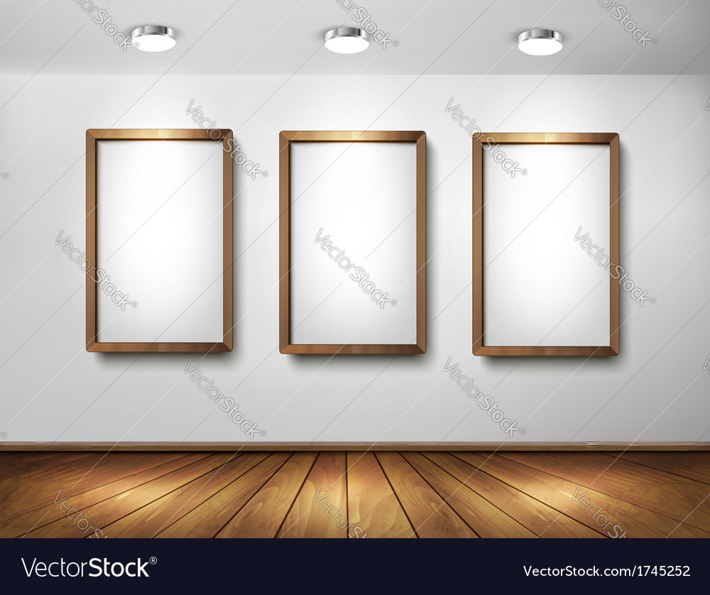 Empty wooden frames on wall with spotlights and vector | Price: 1 Credit (USD $1)