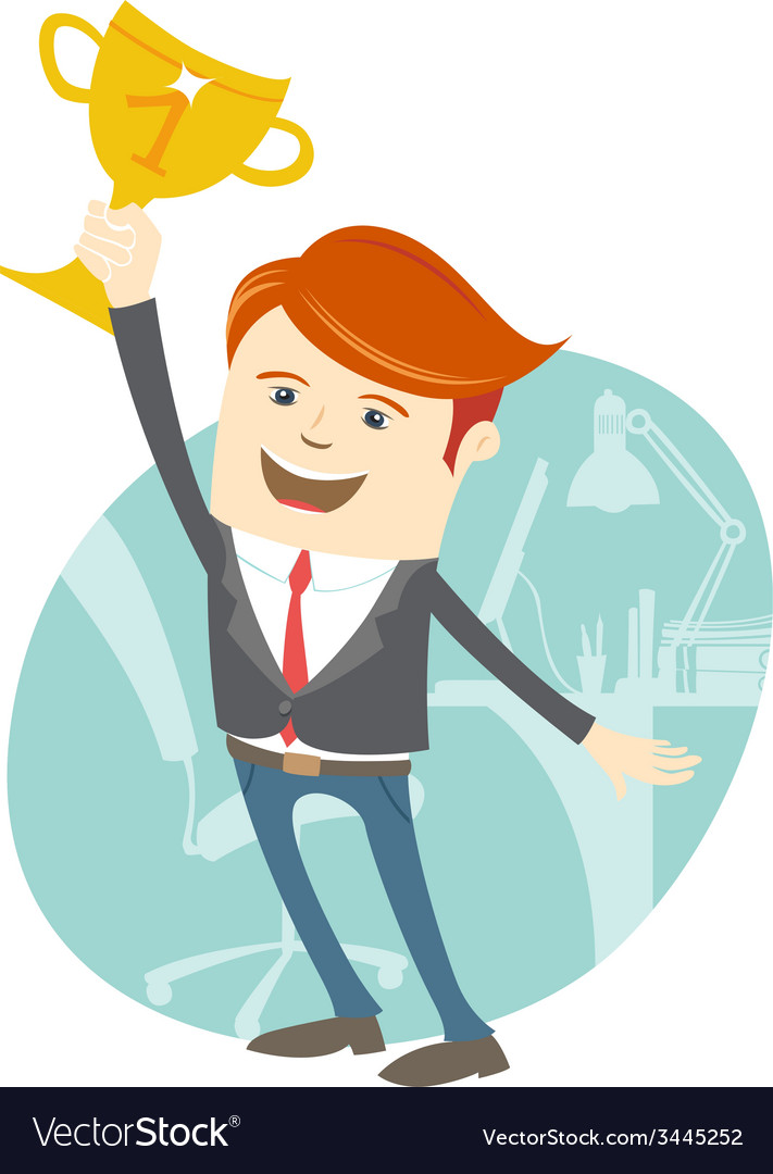 Happy office man holding the cup vector | Price: 1 Credit (USD $1)