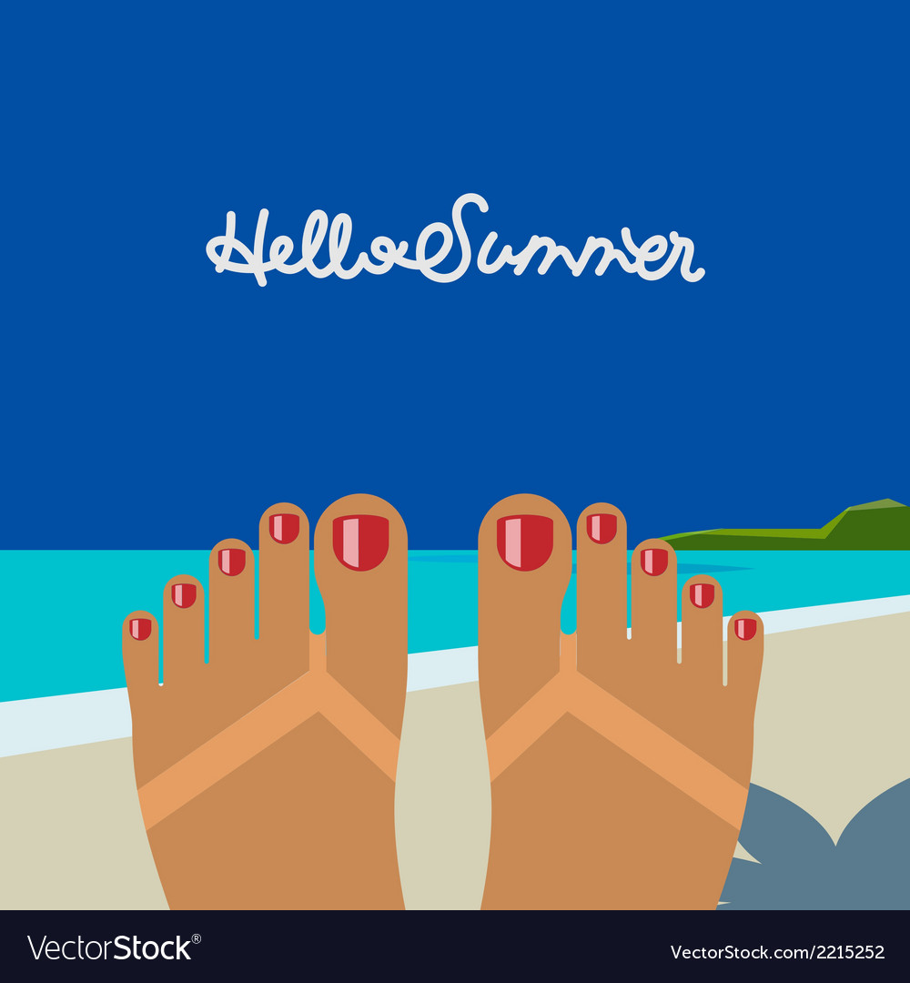 Hello summer self shoot female feet tanned on the vector | Price: 1 Credit (USD $1)