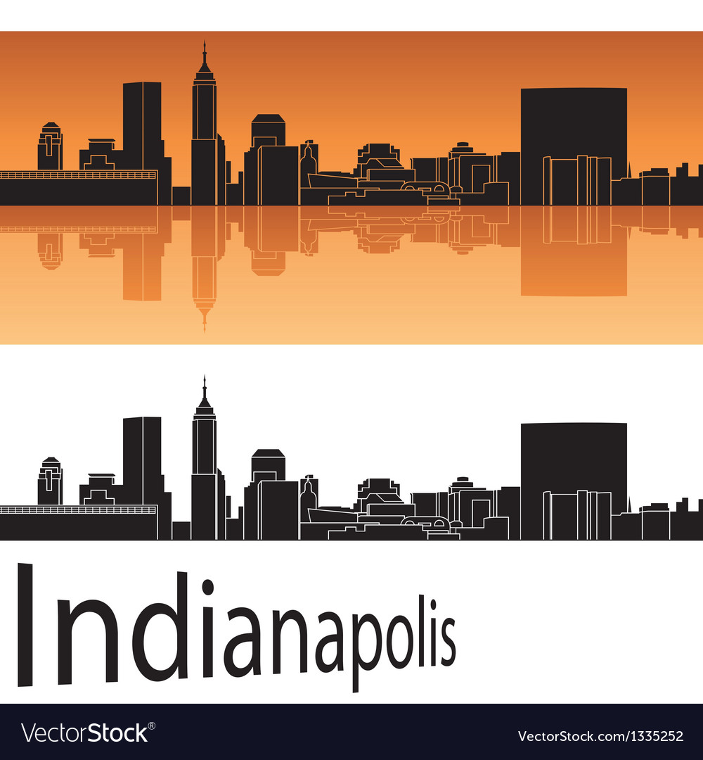 Indianapolis skyline in orange background vector | Price: 1 Credit (USD $1)