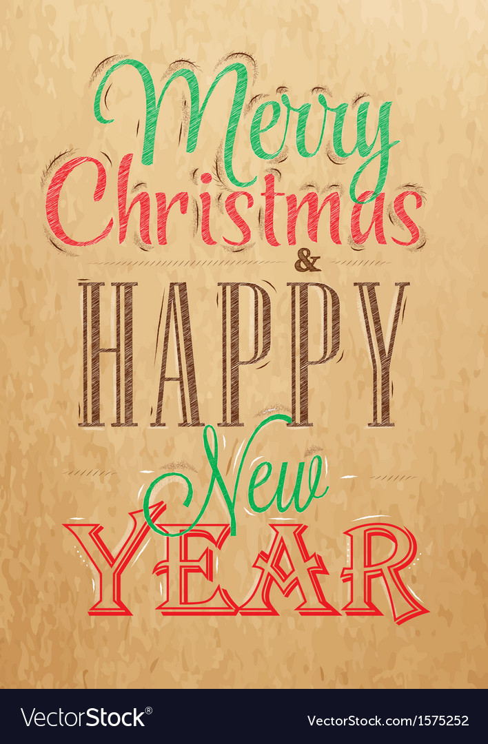 Poster merry christmas happy kraft color vector | Price: 1 Credit (USD $1)