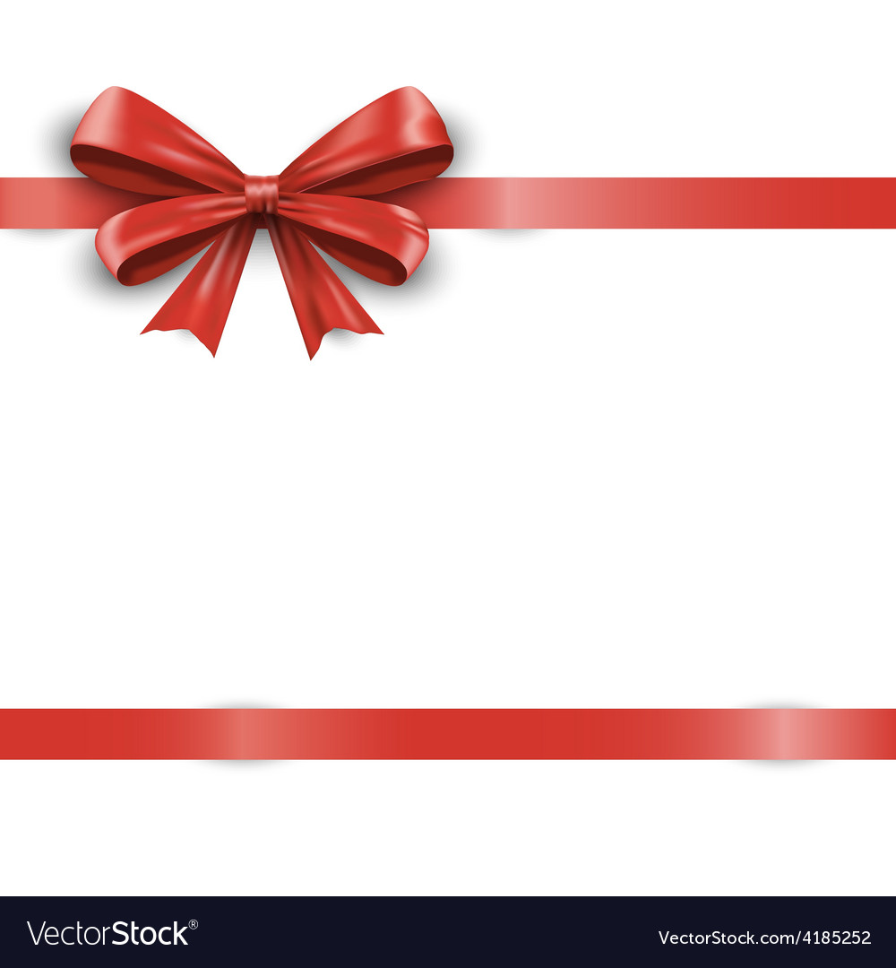Red ribbon with bow isolated on white background vector | Price: 3 Credit (USD $3)