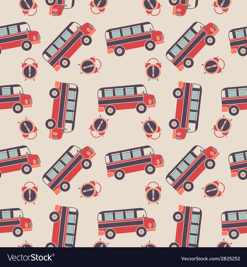 Seamless pattern of buses and alarms vector | Price: 1 Credit (USD $1)