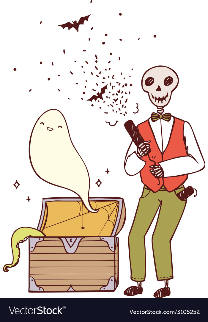 Skeleton with party poppers and a ghost vector   Price: 1 Credit (USD $1)