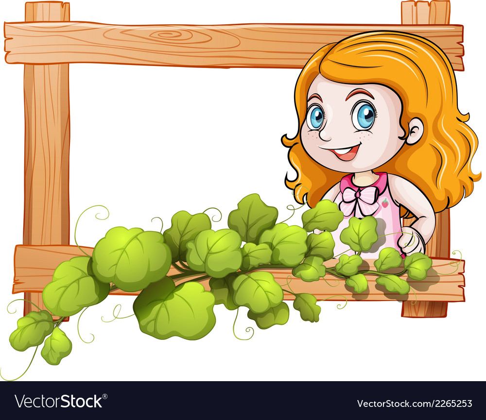 A frame with a lady and green plants vector