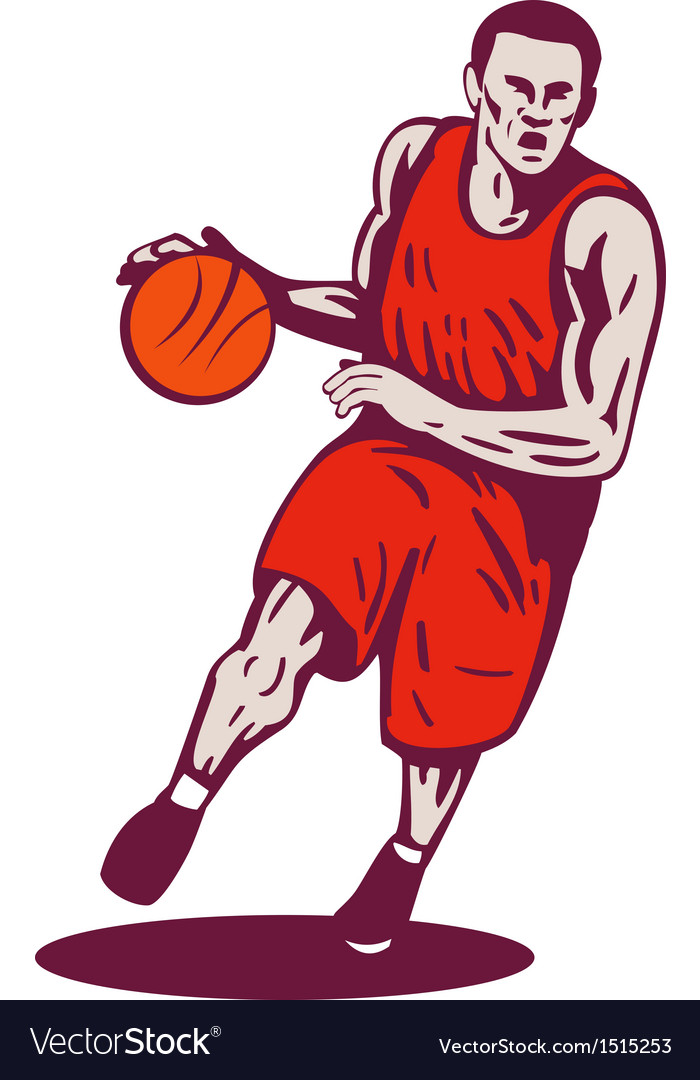 Basketball player dribbling ball retro vector | Price: 1 Credit (USD $1)
