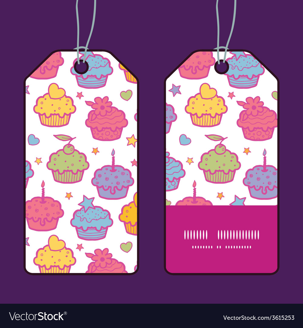 Colorful cupcake party vertical stripe frame vector | Price: 1 Credit (USD $1)