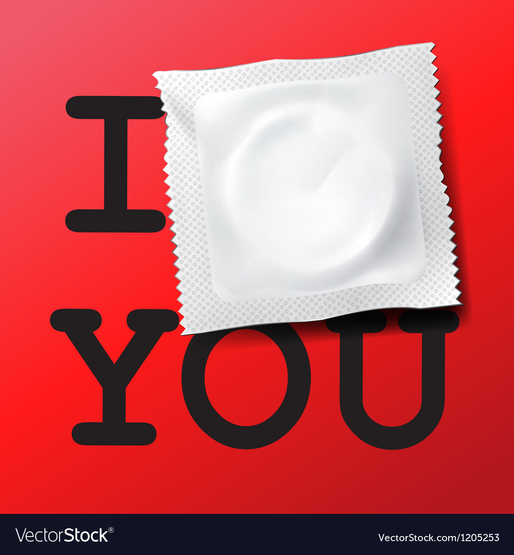 Condom with text i love you vector | Price: 1 Credit (USD $1)