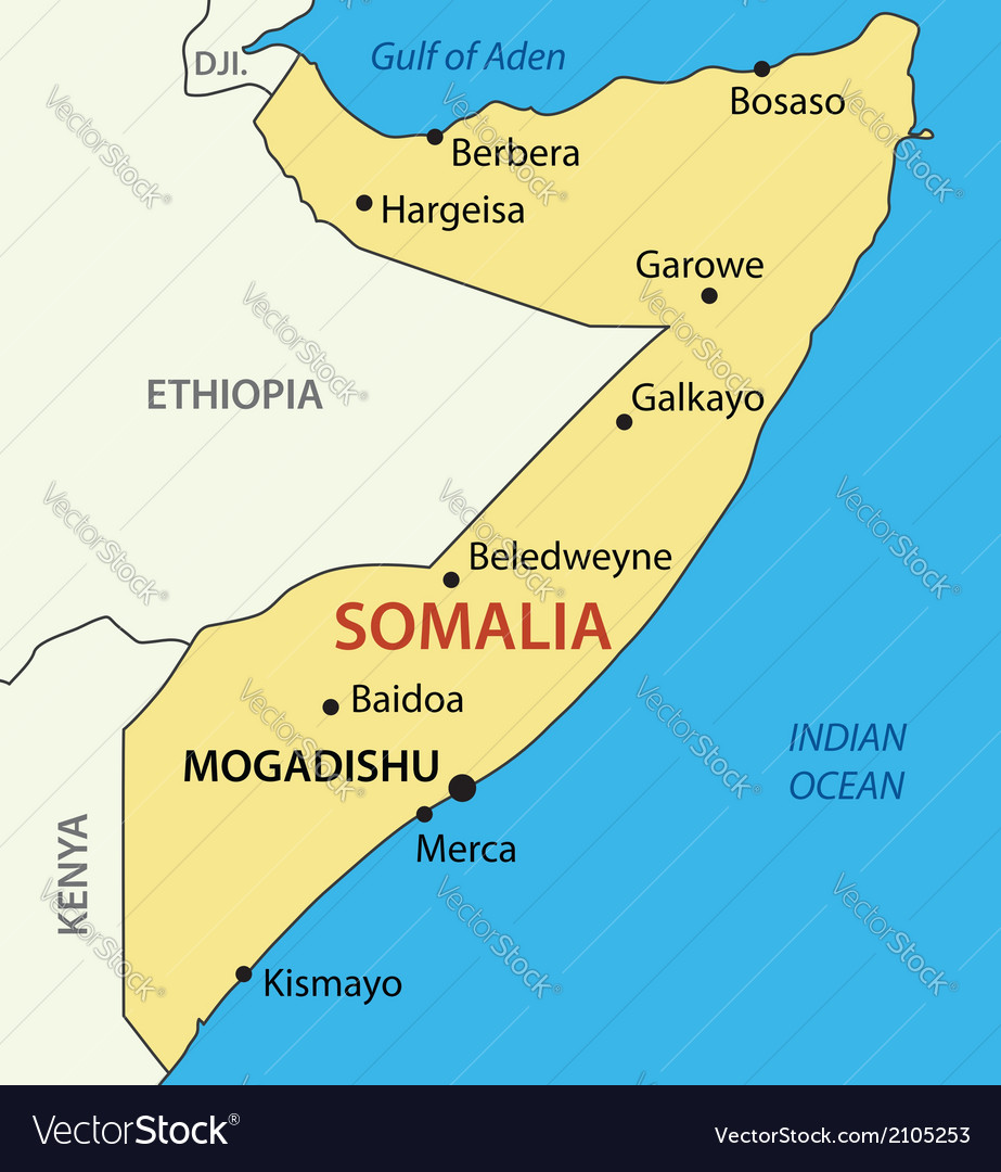 Federal republic of somalia - map vector | Price: 1 Credit (USD $1)