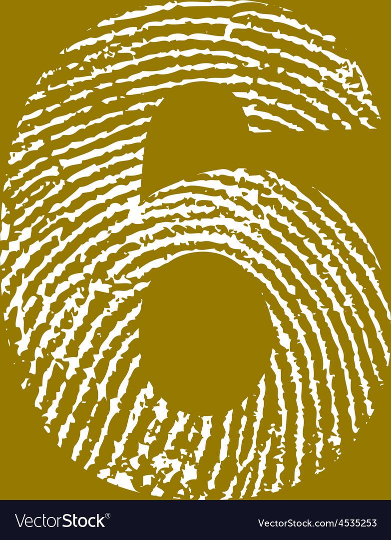 Fingerprint alphabet no 6 vector | Price: 1 Credit (USD $1)
