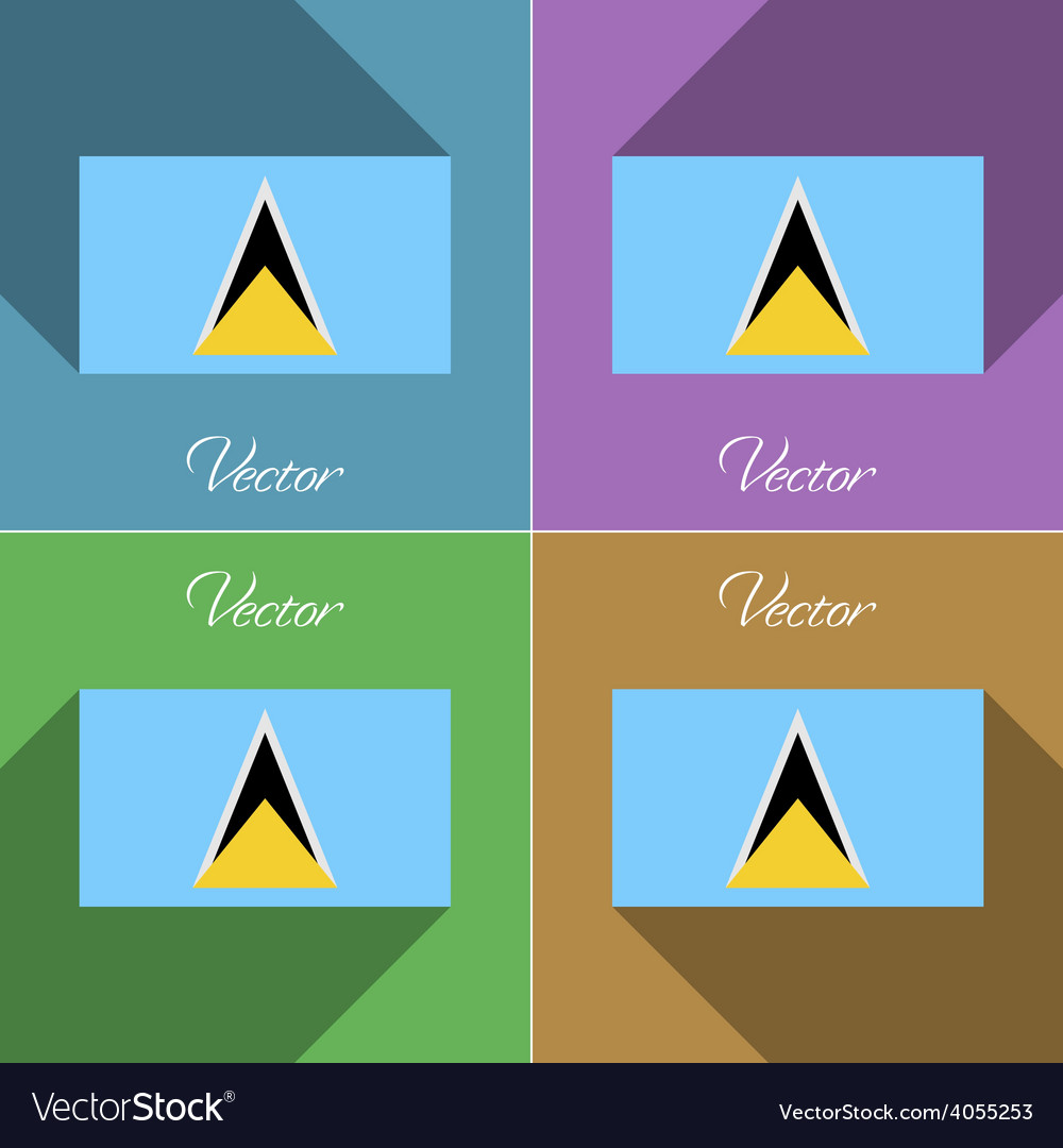 Flags saint lucia set of colors flat design and vector | Price: 1 Credit (USD $1)