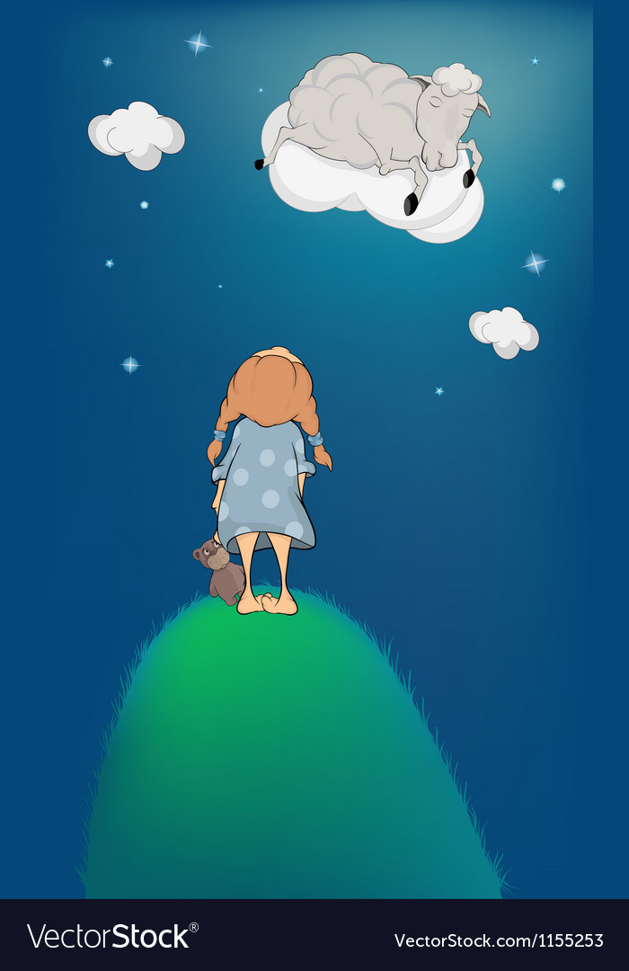 The girl lamb on a cloud vector | Price: 1 Credit (USD $1)