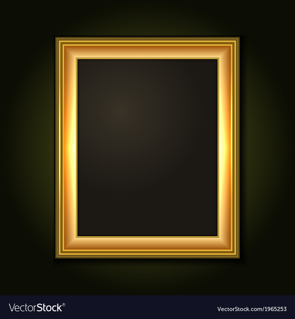 Gold picture frame with dark canvas vector | Price: 1 Credit (USD $1)