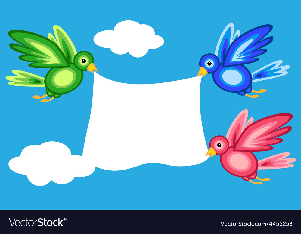Graphic shape birds holding banner vector   Price: 1 Credit (USD $1)