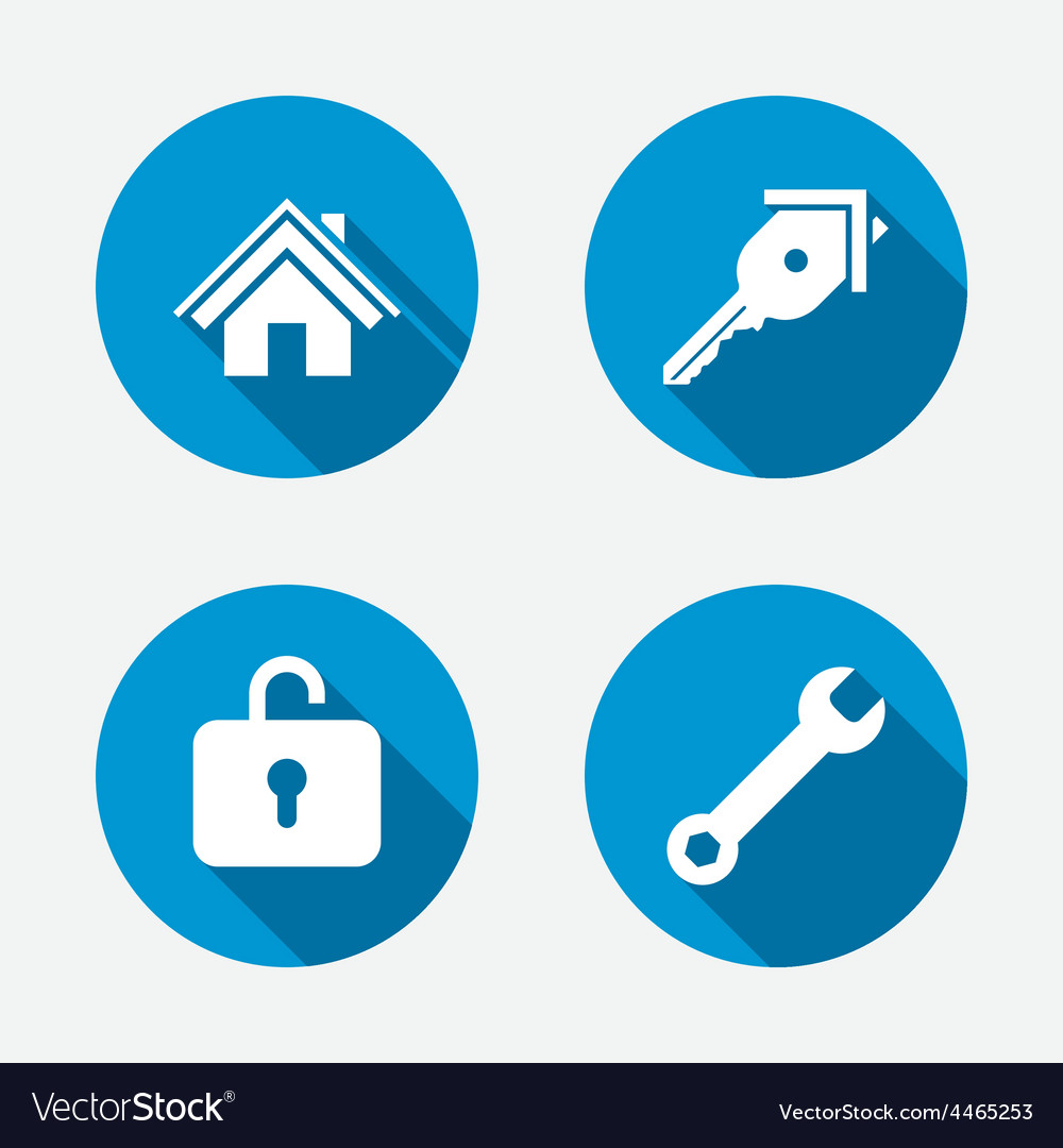 Home key icon wrench service tool symbol vector | Price: 1 Credit (USD $1)