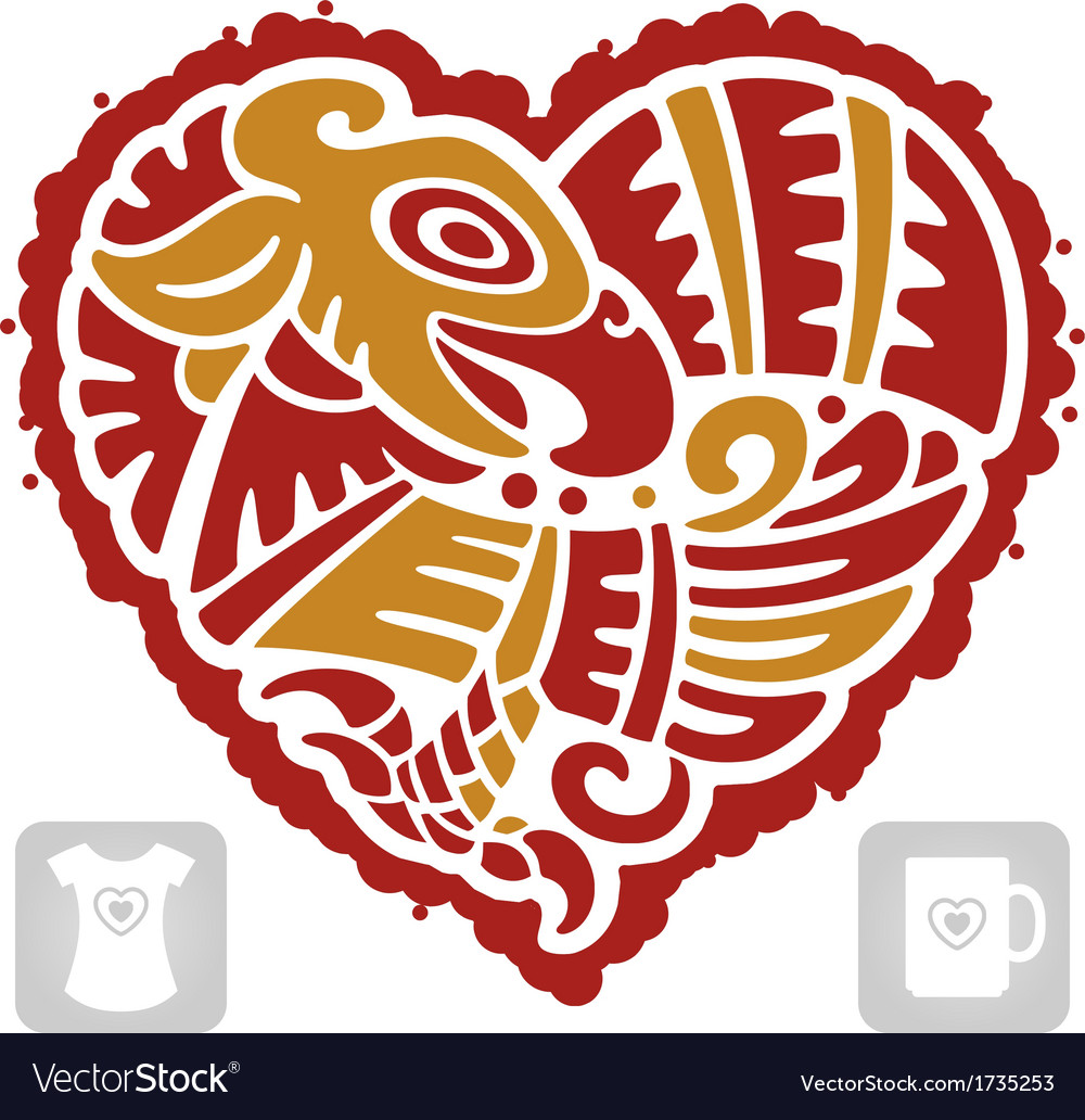 Indian pattern of bird in the shape of heart vector | Price: 1 Credit (USD $1)