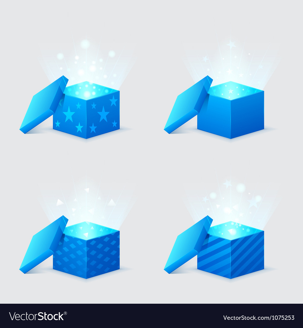 Magic light comes from the blue gift boxes vector | Price: 1 Credit (USD $1)