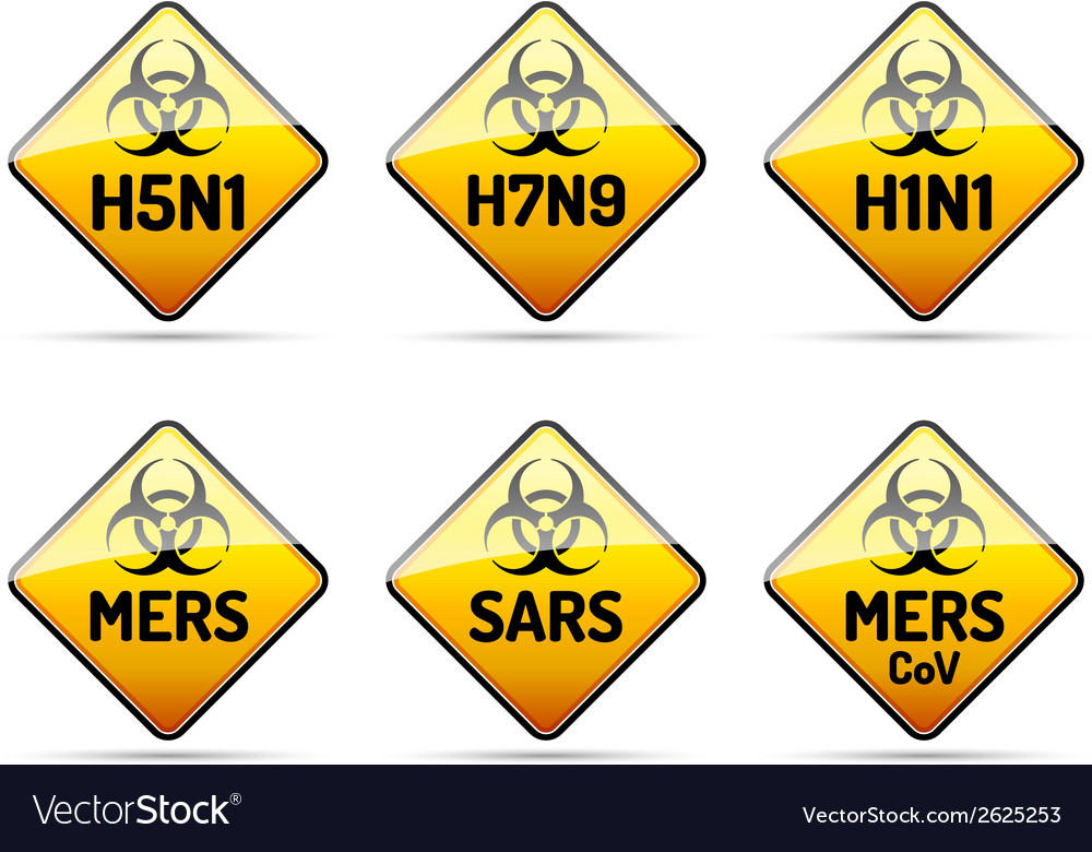 Mers sars h5n1 biohazard virus sign vector | Price: 1 Credit (USD $1)