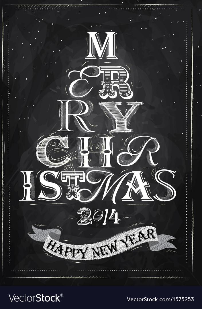 Poster tree christmas happy chalk vector | Price: 1 Credit (USD $1)