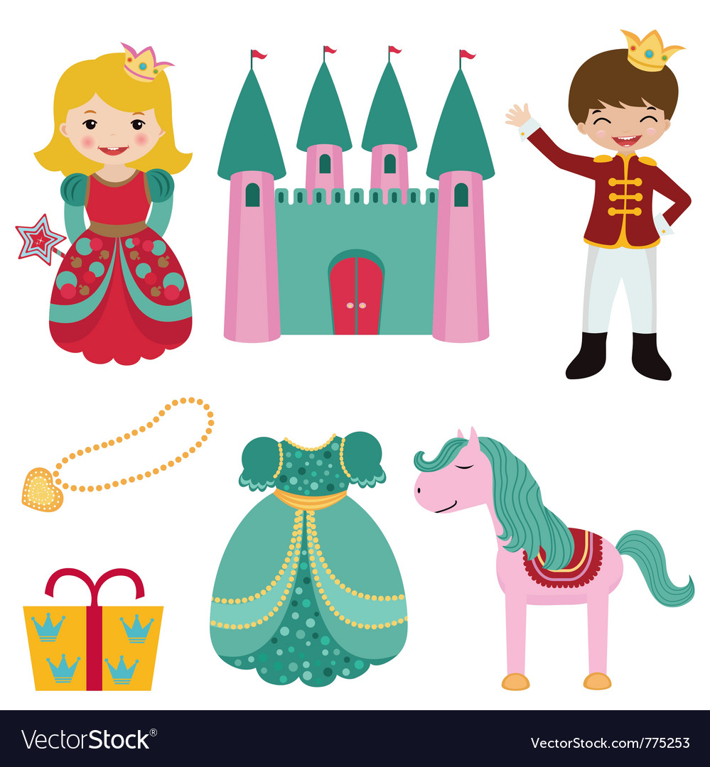 Prince and princess set vector | Price: 3 Credit (USD $3)