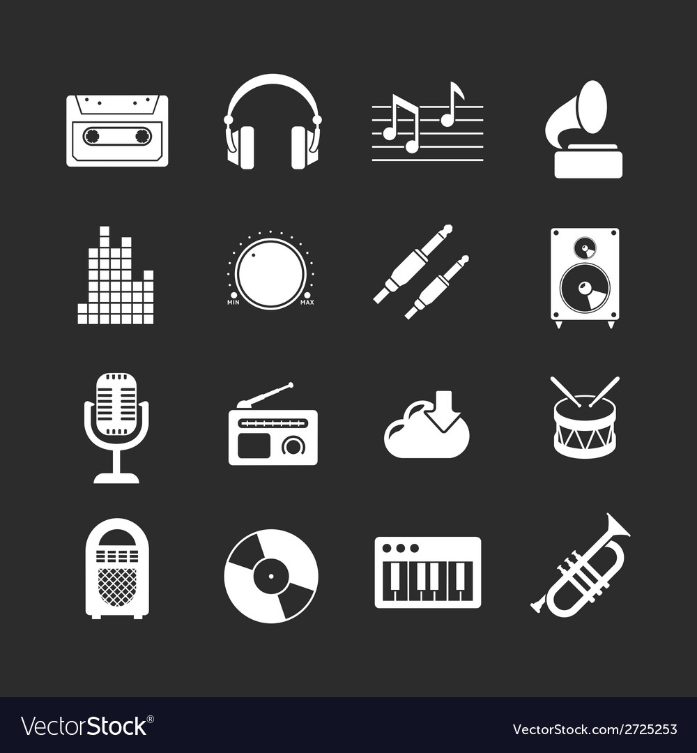 Set icons of music and sound vector   Price: 1 Credit (USD $1)