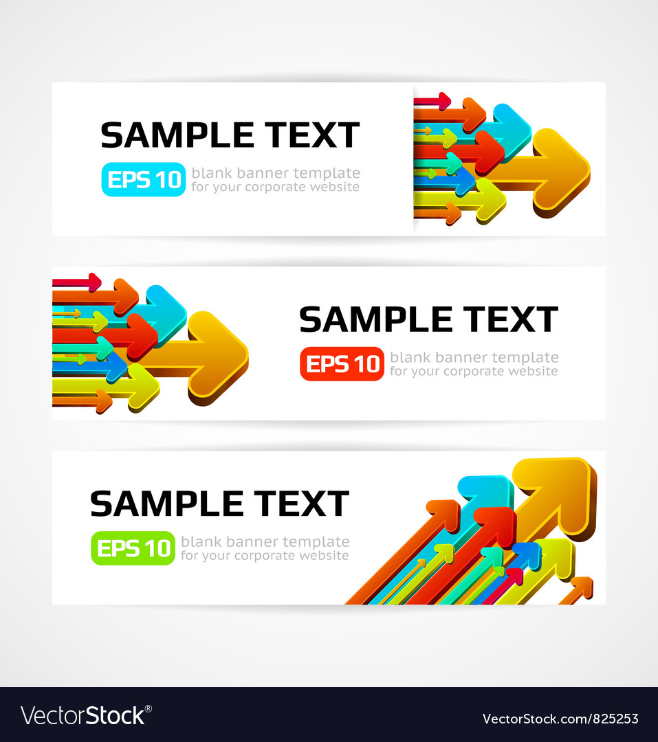 Set of three banners with 3d arrows vector | Price: 1 Credit (USD $1)