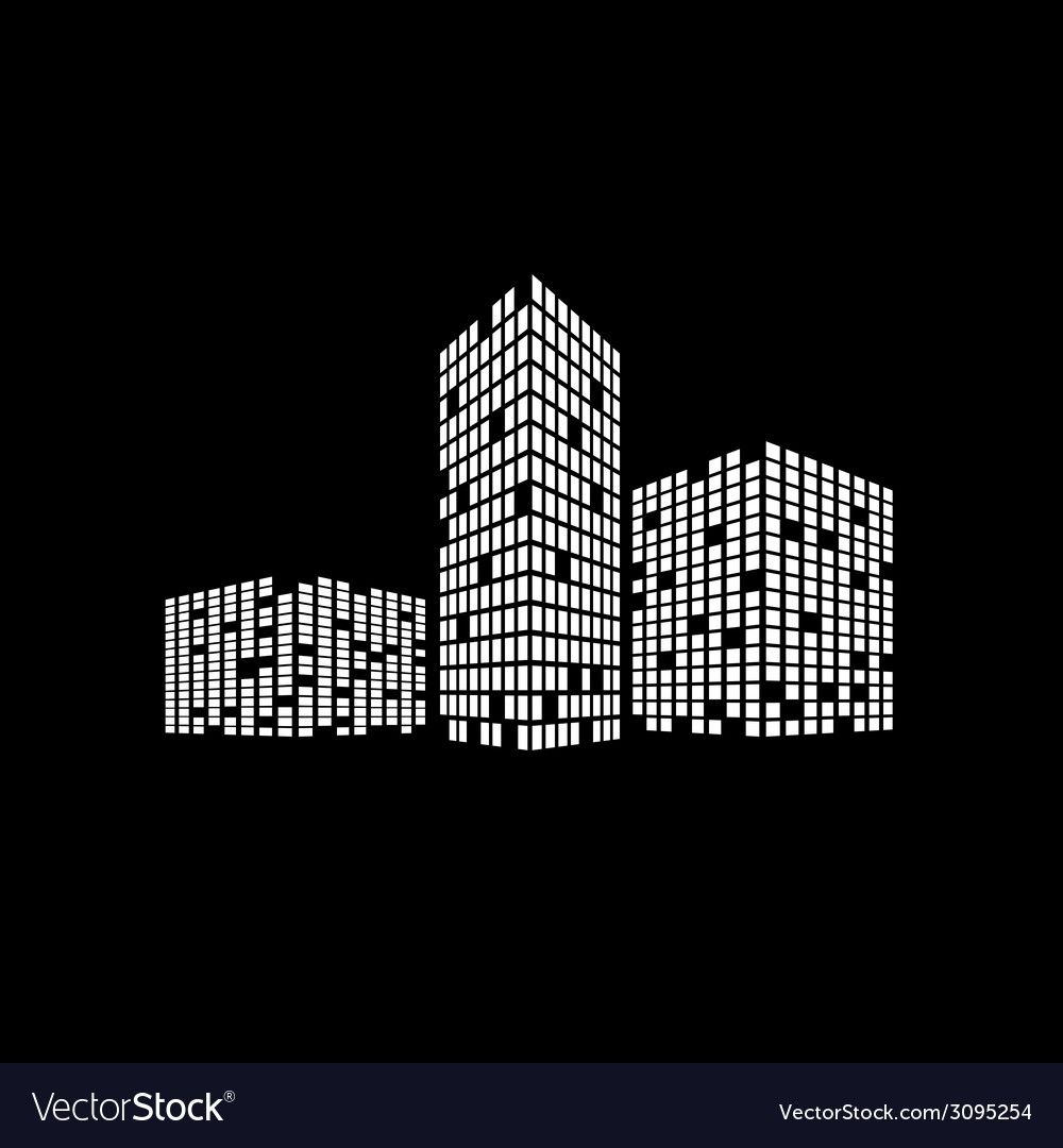 Business building on black vector | Price: 1 Credit (USD $1)